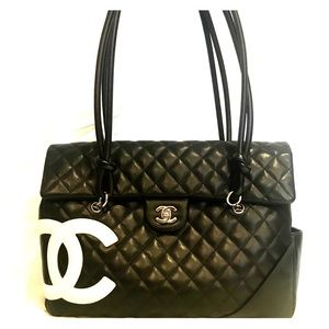 Chanel Leather Cambon CC XL Quilted Tote